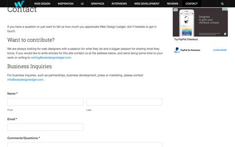 Screenshot of Contact Page webdesignledger.com - Contact - Web Design Ledger - captured May 19, 2019