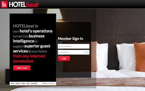 Screenshot of Home Page hotelbeat.com - HOTELbeat - The Pulse of Your Hotel - captured Jan. 14, 2015