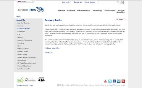 Screenshot of About Page brand-rex.com - Company Profile | Brand-Rex Ltd. - captured Oct. 29, 2014
