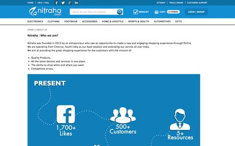 Screenshot of About Page nitraha.com - About Us - Nitraha.com | Best online Shopping website in  India - captured Oct. 26, 2014