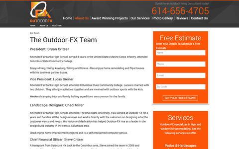 Screenshot of Team Page outdoor-fx.net - The Outdoor-FX Team - captured Oct. 18, 2018