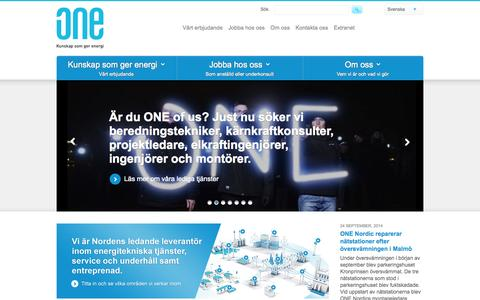 Screenshot of Home Page one-nordic.se - Start - ONE Nordic - captured Oct. 1, 2014