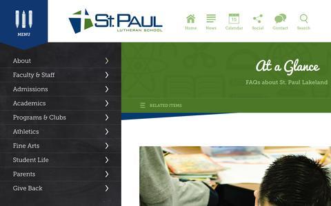 Screenshot of FAQ Page splslakeland.org - At a Glance - St. Paul Lutheran School - captured Feb. 17, 2016