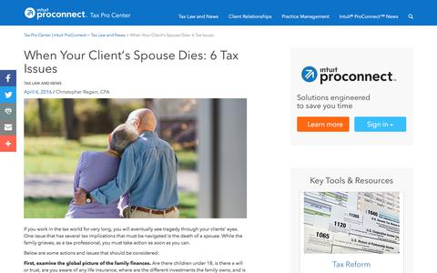 Screenshot of Press Page intuit.com - When Your Client's Spouse Dies: 6 Tax Issues | Tax Pro Center | Intuit ProConnect - captured Nov. 21, 2019