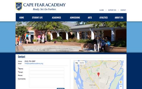 Screenshot of Contact Page capefearacademy.org - Contact - captured Dec. 6, 2015