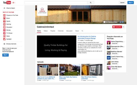 Screenshot of YouTube Page youtube.com - CabinsUnlimited  - YouTube - captured Oct. 22, 2014