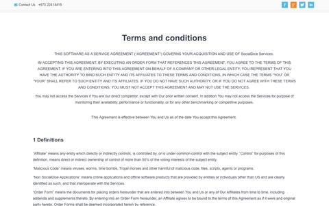 Screenshot of Terms Page socialdice.net - Terms and Conditions - captured Oct. 7, 2014