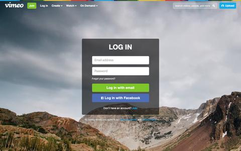 Screenshot of Login Page vimeo.com - Log in to Vimeo - captured Dec. 7, 2015