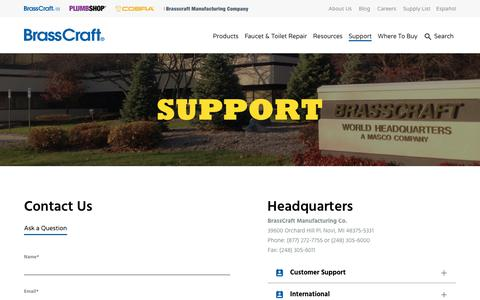 Screenshot of Contact Page Support Page brasscraft.com - Support - Brasscraft Mfg. Co. - captured Aug. 3, 2018