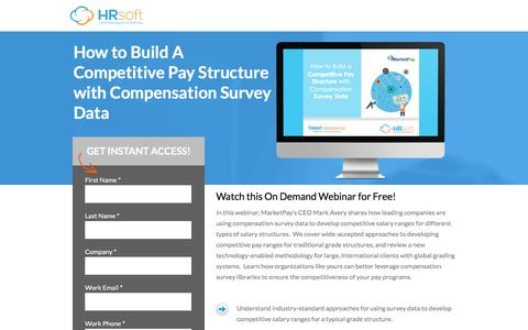 Screenshot of Landing Page hrsoft.com - How to Build A Competitive Pay Structure with Compensation Survey Data - captured May 17, 2017