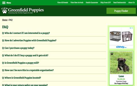 Screenshot of FAQ Page greenfieldpuppies.com - Frequently Asked Questions   Check the FAQs   Greenfield Puppies - captured July 25, 2018