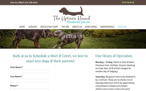Screenshot of Contact Page Hours Page myuptownhound.com - FETCH US | The Uptown Hound - captured Oct. 19, 2018