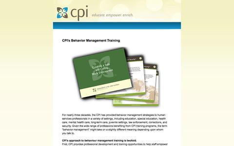 Screenshot of Landing Page crisisprevention.com - CPI's Behavior Management Training - captured Oct. 27, 2014