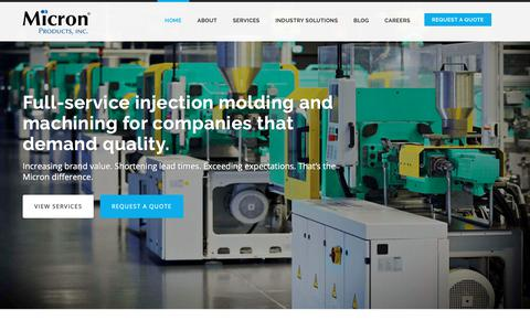 Screenshot of Home Page micronproducts.com - MicronProducts.Com - Contract Injection Molding and Precision Machining - captured Oct. 18, 2018