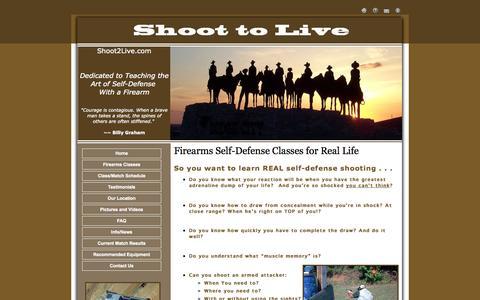 Screenshot of Home Page shoot2live.com - Shoot to Live - captured Oct. 4, 2014