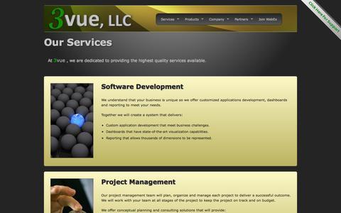 Screenshot of Services Page 3vuellc.com - 3vue, LLC - Our Services - captured Oct. 7, 2014