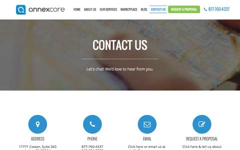 Screenshot of Contact Page annexcore.com - Contact Us | AnnexCore - captured Sept. 24, 2014