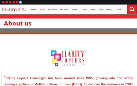Screenshot of About Page clarityglamorgan.co.uk - About Clarity Copiers Glamorgan | Company History | Warren Dryden Franchise Principal | Part of the Clarity Copiers Group - captured Sept. 28, 2018