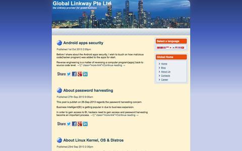 Screenshot of Blog global-linkway.com.sg - Global Linkway Pte Ltd - the Linkway provider for global businessGlobal Linkway Pte Ltd - captured Jan. 29, 2016