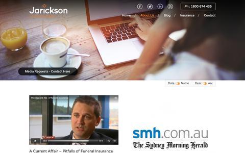 Screenshot of Press Page jarickson.com.au - In the media – Jarickson - captured Dec. 17, 2018