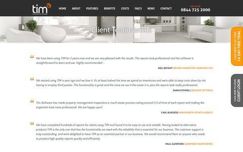 Screenshot of Testimonials Page theinventorymanager.co.uk - Testimonials - The Inventory Manager - captured Sept. 30, 2014