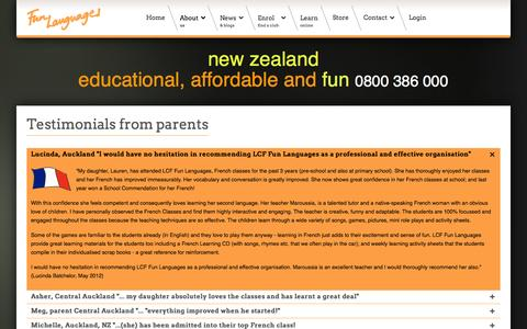 Screenshot of Testimonials Page lcfclubs.co.nz - Fun Languages - New Zealand - Parents - captured Nov. 1, 2014