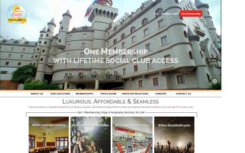 Screenshot of Home Page countryclubindia.net - Grand social clubbing, holiday, fitness & events, in India & beyond! - captured Oct. 1, 2015