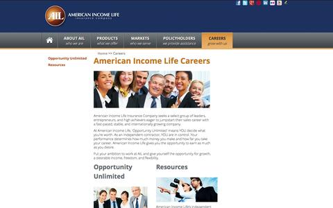 Screenshot of Jobs Page ailife.com - American Income Life Careers | Work for AIL - captured Sept. 24, 2014