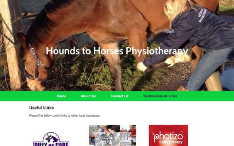 Screenshot of Testimonials Page houndstohorsesphysio.co.uk - Hounds to Horses Physiotherapy Home - captured Nov. 14, 2016