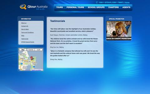 Screenshot of Testimonials Page qtour.com.au - Testimonials - Qtour - captured Sept. 19, 2014