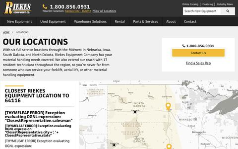 Screenshot of Contact Page Locations Page riekesequipment.com - Yale Forklift Dealer Locations in NE, IA, SD & ND | Riekes Equipment - captured June 15, 2017