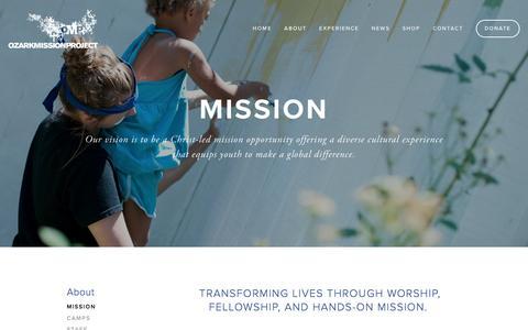 Screenshot of About Page ozarkmissionproject.org - Mission — Ozark Mission Project - captured June 14, 2016