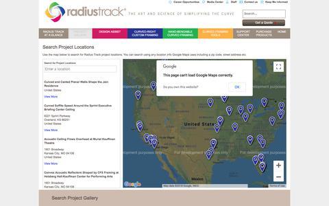 Screenshot of Locations Page radiustrack.com - Project Locator | Radius Track - captured Sept. 21, 2018