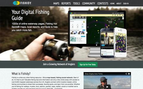 Screenshot of Home Page fishidy.com - Fishing Hot Spots, Tips & Fishing Social Network | Fishidy - captured Sept. 23, 2014
