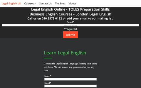 Screenshot of Contact Page legalenglish.co.uk - Contact Us - Legal English Language Training Courses - captured Nov. 22, 2018