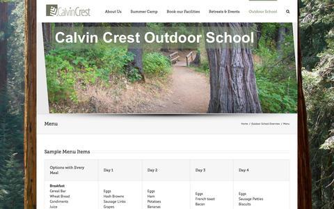 Screenshot of Menu Page calvincrest.com - Calvin Crest -   Menu - captured Oct. 18, 2016