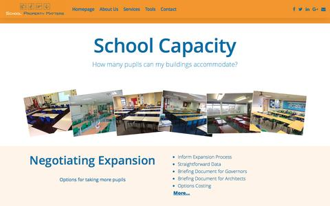 Screenshot of Services Page schoolpropertymatters.co.uk - Capacity Overview - School Property Matters - captured May 28, 2017