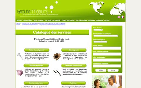 Screenshot of Services Page groupemobility.fr - Catalogue Services Prestataires mobilité Agence Relocation - captured Sept. 27, 2014