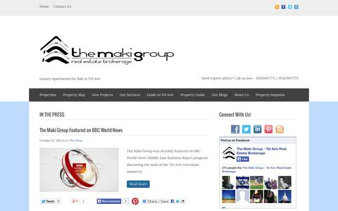 Screenshot of Press Page telavivbroker.com - In The Press Archives - The Maki Group - Tel Aviv Real Estate BrokerageThe Maki Group - Tel Aviv Real Estate Brokerage - captured Oct. 6, 2014