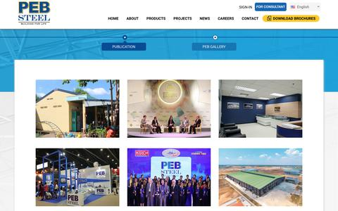Screenshot of Press Page pebsteel.com - PUBLICATION | PEB Steel Buildings Co. Ltd. - captured Sept. 25, 2018
