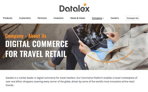 Screenshot of About Page datalex.com - Digital Commerce for Airlines & Travel Retailers | Datalex - captured June 4, 2017