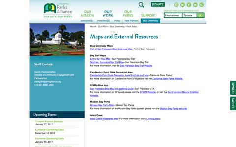 Screenshot of Maps & Directions Page sfparksalliance.org - Maps and External Resources | San Francisco Parks Alliance - captured Dec. 18, 2016