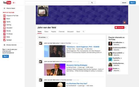 Screenshot of YouTube Page youtube.com - John van der Veld  - YouTube - captured Oct. 27, 2014