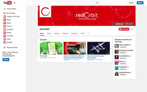 Screenshot of YouTube Page youtube.com - red Orbit  - YouTube - captured Oct. 29, 2014