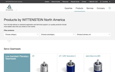 Screenshot of Products Page wittenstein-us.com - Products - WITTENSTEIN North America - captured Oct. 19, 2017
