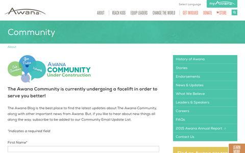 Screenshot of Contact Page awana.org - Community | Awana - captured June 14, 2016