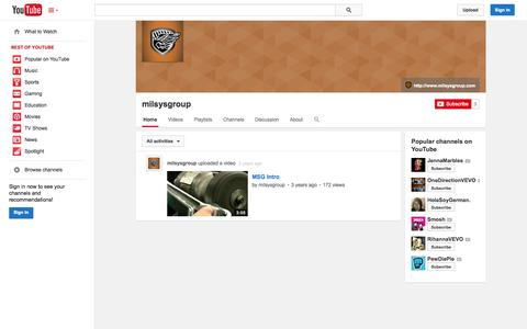 Screenshot of YouTube Page youtube.com - milsysgroup  - YouTube - captured Oct. 26, 2014