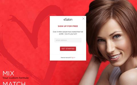Screenshot of Landing Page esalon.com - Hair color survey | Get your personalized custom hair color - captured Aug. 15, 2016