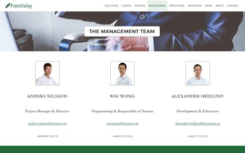 Screenshot of Team Page frontway.se - The Management Team - FrontWay AB - captured Oct. 14, 2017