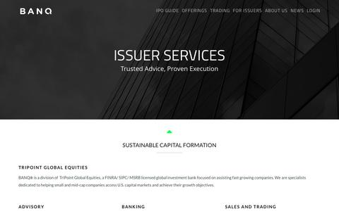 Screenshot of Services Page banq.co - FOR ISSUERS | BANQ - captured Dec. 15, 2015